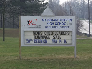 Markham District High School Reunion sign