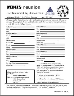 Golf Registration Form Angus Glen